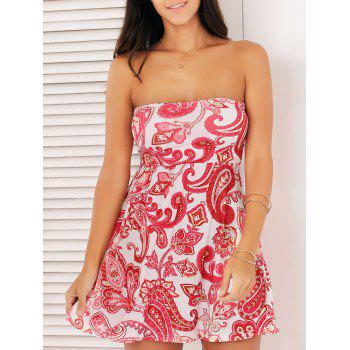 Strapless Print Mini Summer Dress