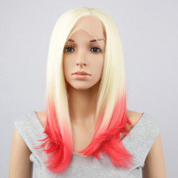 Long Side Parting Straight Synthetic Double Color Lace Front Wig
