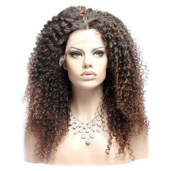 Long Double Color Curly Fluffy Middle Part Lace Front Synthetic Wig - COLORMIX