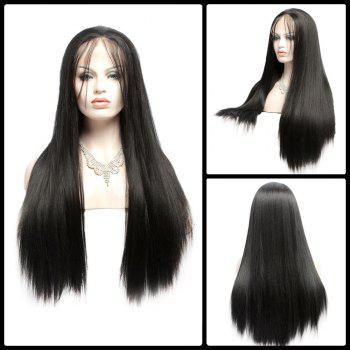 Long Yaki Straight Side Bang Lace Front Synthetic Wig