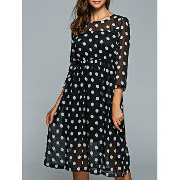Round Neck 3/4 Sleeve Polka Dot Dress