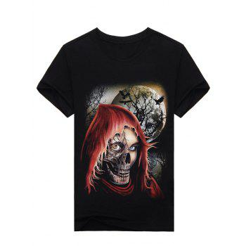 3D Night Skull Pattern Halloween T-Shirt
