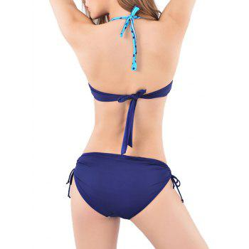 Halter Neck Ruched Polka Dot Bikini - BLUE XL