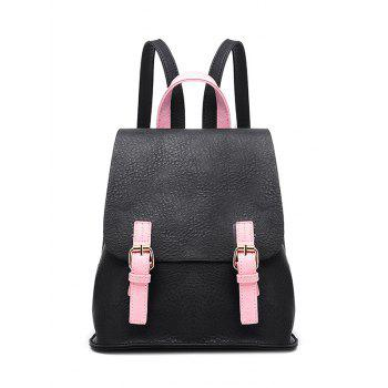 Textured PU Leather Buckle Strap Backpack