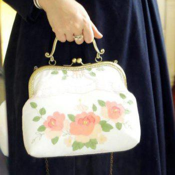 Embroidery Kiss Lock Appliques Tote Bag