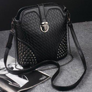 Rivets Chain Woven Pattern Crossbody Bag