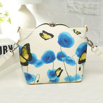 PU Leather Twist-Lock Butterfly Print Crossbody Bag