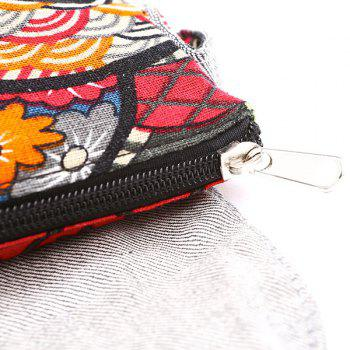 Color Splicing Cotton Floral Print Crossbody Bag - RED