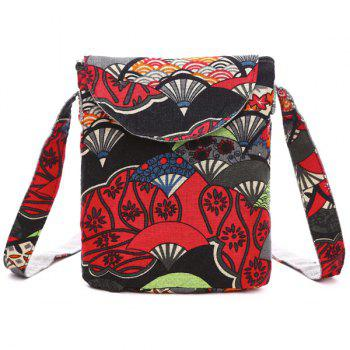 Color Splicing Cotton Floral Print Crossbody Bag