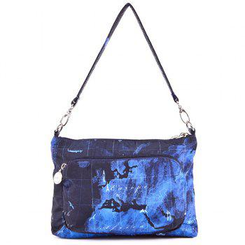 Nylon Color Splicing Map Print Crossbody Bag - BLUE BLUE