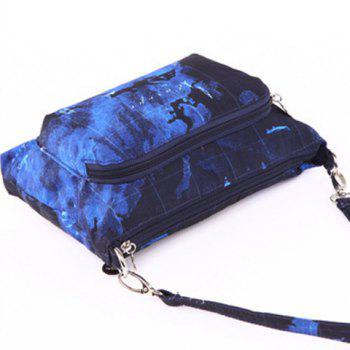 Nylon Color Splicing Map Print Crossbody Bag -  BLUE