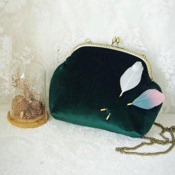 Feathers Kiss Lock Closure Vintage Crossbody Bag -  DEEP GREEN