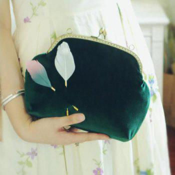 Feathers Kiss Lock Closure Vintage Crossbody Bag