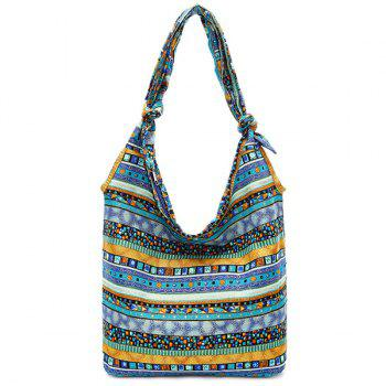 Cotton Fabric Color Block Geometric Pattern Shoulder Bag