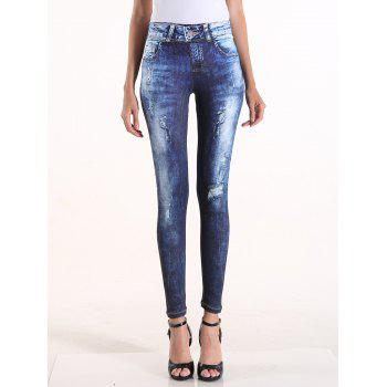 Faux Ripped Denim High Waisted Pants