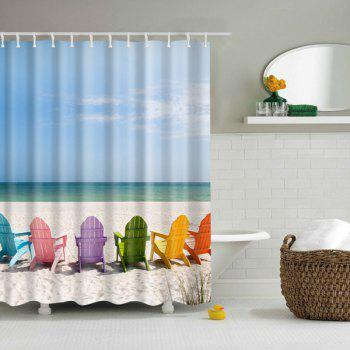 High Quality Seaside Design Printed Bathroom Shower Curtain