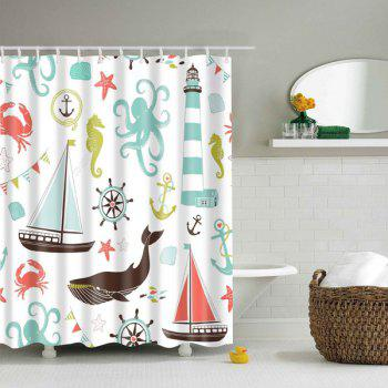 Cartoon Marine Product Polyester Waterproof Shower Curtain