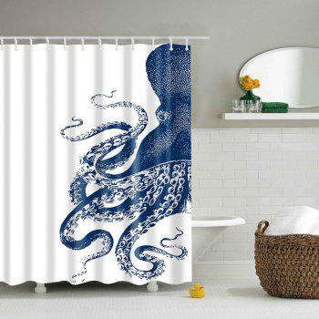 Waterproof Octopus Printed Polyester Shower Curtain - BLUE AND WHITE L