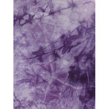 V Neck Tie Dye manches longues Tee - Pourpre S