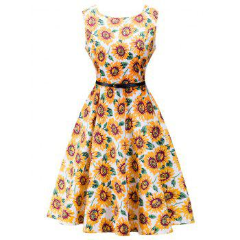 Retro High Waisted Sunflower Dress