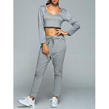 Long Sleeve Hooded Crop Top and Pants Set