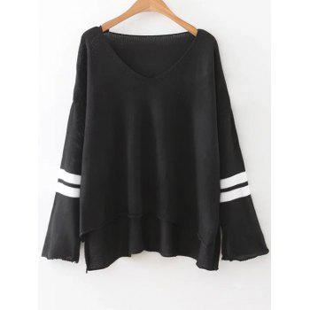 Drop Shoulder Oversized Sweater - BLACK ONE SIZE