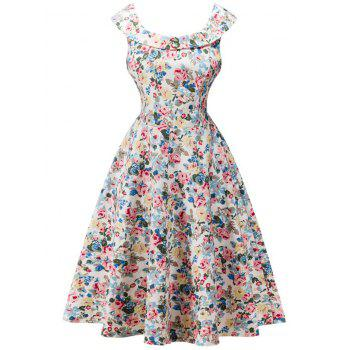 Retro Flounced Cape Sleeve  Floral Tea Dress