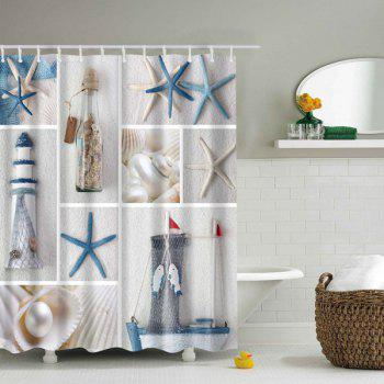 Sea Product Polyester Waterproof Shower Curtain