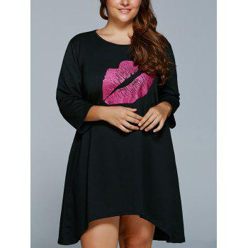 Plus Size Lip Print Mini Shift Dress - 3XL 3XL