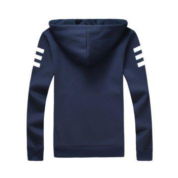Zip Up Inverted Triangle Print Long Sleeve Hoodie - CADETBLUE 4XL