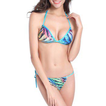 Printed Trim Halter String Bikini Set - COLORMIX M