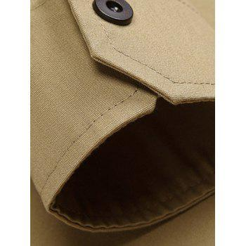 Slim-Fit Turn-Down Collar Flap Pocket Shirt - KHAKI 2XL