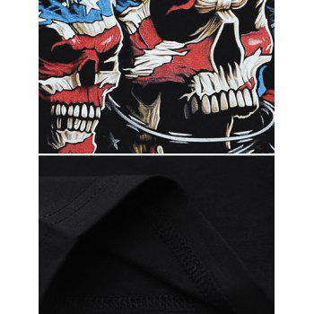 Round Neck 3D Stripe and Star Skulls Print Short Sleeve T-Shirt - BLACK XL