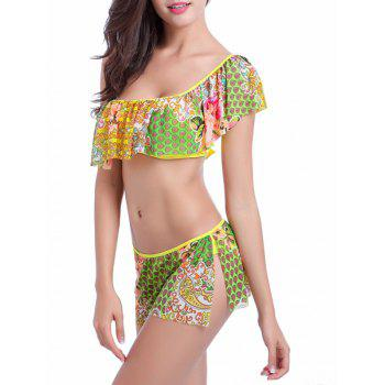 Flounce One Shoulder Floral Print Bikini Set - COLORMIX XL
