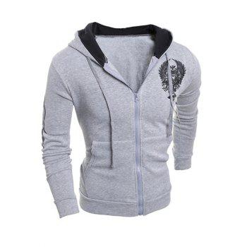 Hooded Printing Drawstring Zip-Up Hoodie - GRAY L