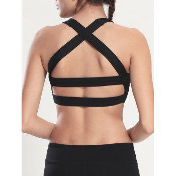 Criss Cross Backless Sporty Bra - Noir M