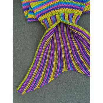 Warmth Colored Stripe Knitted Mermaid Blanket - COLORMIX