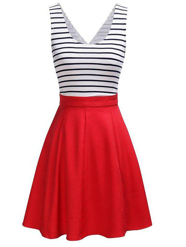 Back Faux Wrap Cutout Stripe Skater Dress contrast stripe print strap skater mini dress