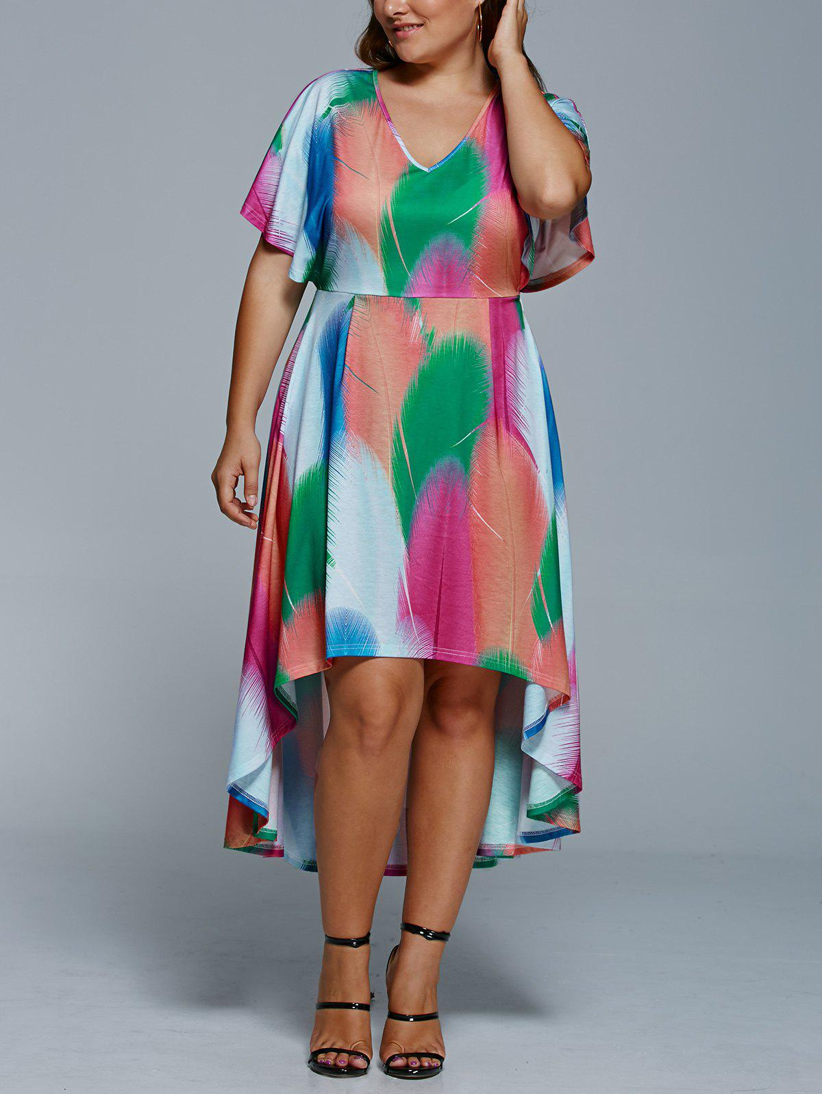 Plus Size Feather Imprimer Haut Robe Bas - multicolorcolore XL