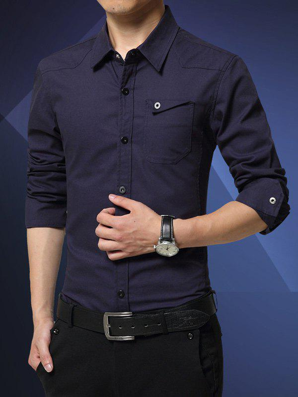 Slim-Fit Turn-Down Collar Flap Pocket Shirt - DEEP BLUE 4XL