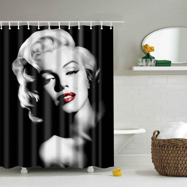 Lady Design Printed Bathroom Mouldproof Shower Curtain - BLACK L