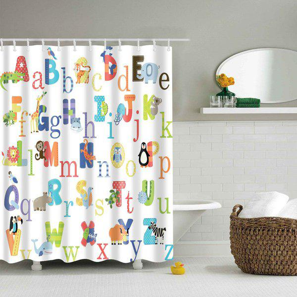 Cartoon Alphabet Printed Waterproof Shower Curtain - COLORMIX M