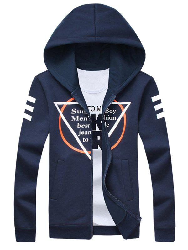 Zip Up Inverted Triangle Print Long Sleeve Hoodie colorful geometric print long sleeve zip up hoodie