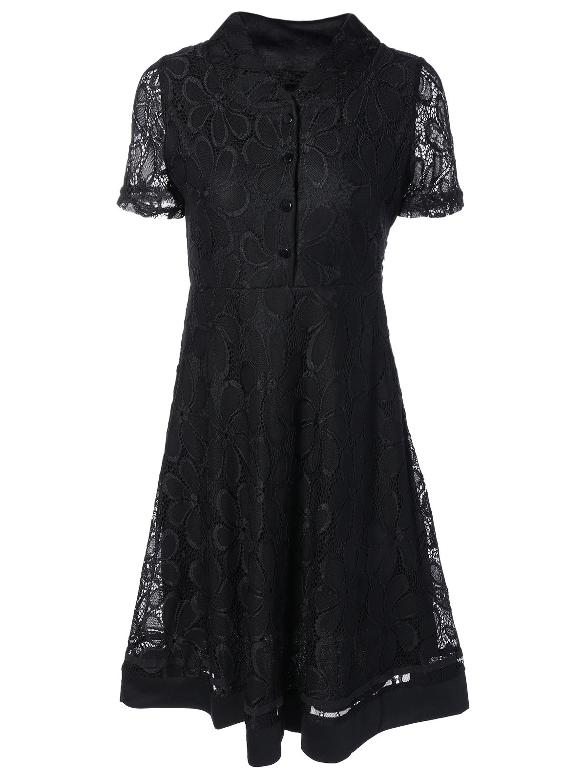Lace Splicing Fit and Flare Dress lace overlay fit and flare dress