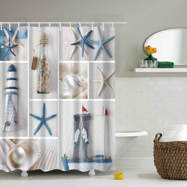 Sea Product Polyester Waterproof Shower Curtain - COLORMIX L