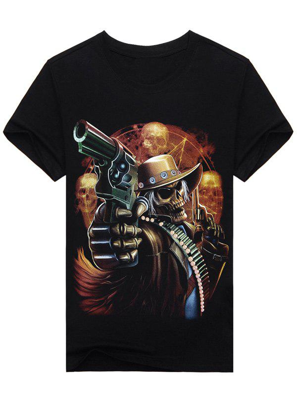 Round Neck 3D Skull Gunner Print Short Sleeve T-Shirt - BLACK 2XL