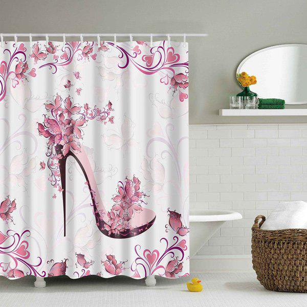 High Heeled Shoes Floral Waterproof Shower Curtain - PINK L