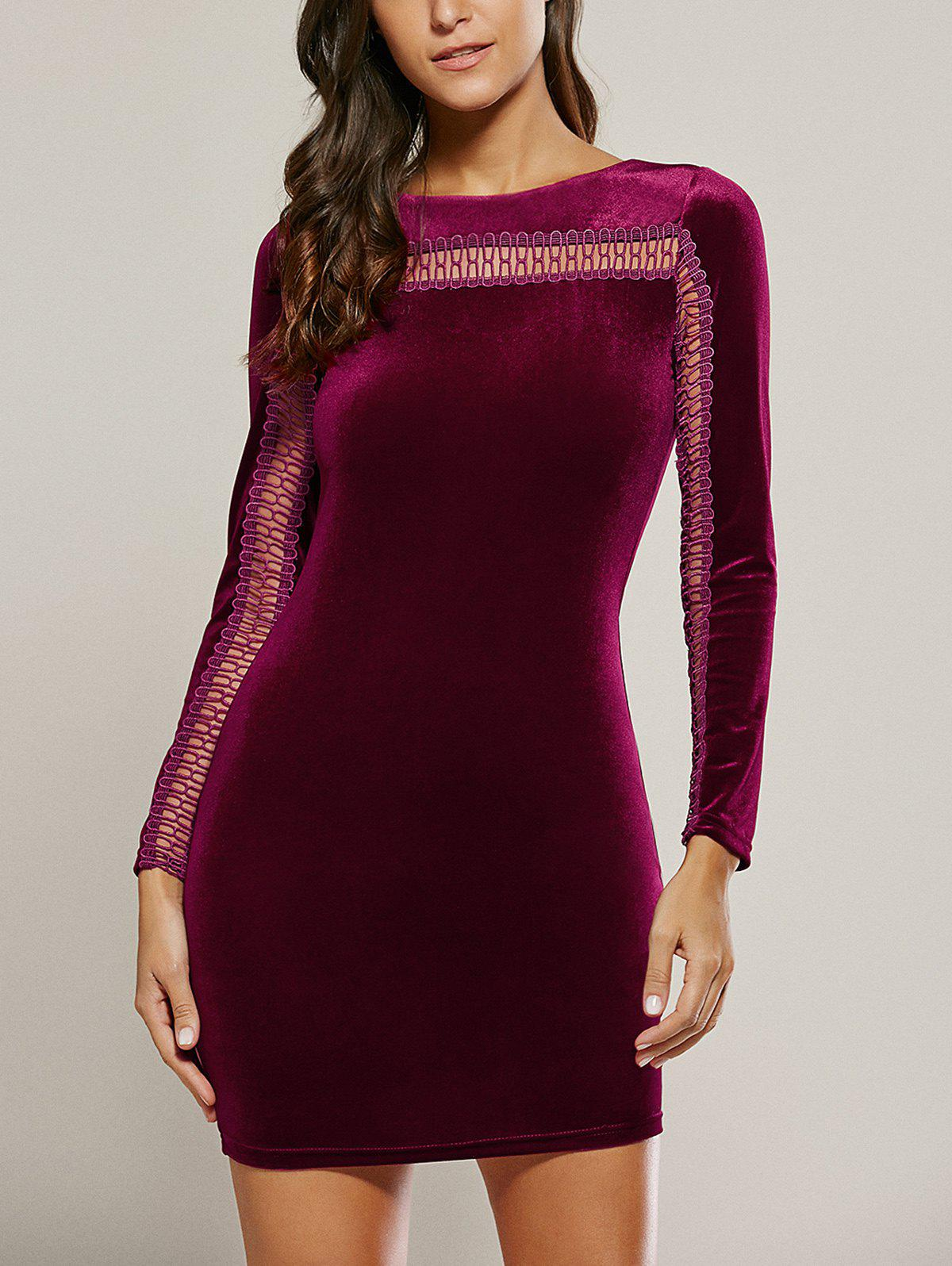 Long Sleeve Hollow Out Velet Dress - WINE RED S