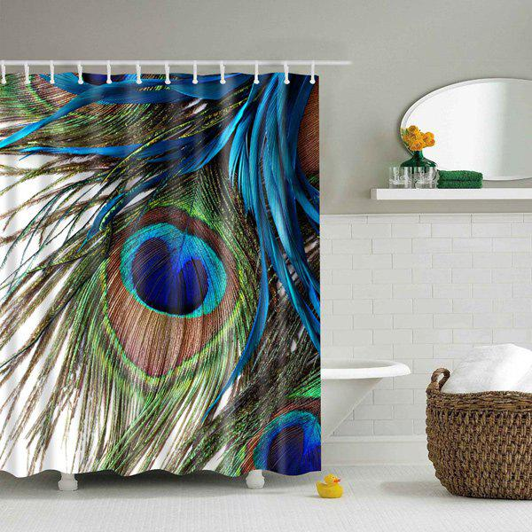 Waterproof Peacock Feather Printing Shower Curtain - COLORMIX L