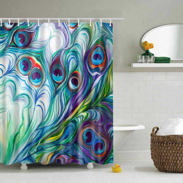 Waterproof Peacock Tail Feather Printed Shower Curtain - COLORMIX L